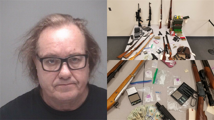 A convicted sex offender is back behind bars after he was arrested in Lake Havasu for allegedly selling meth and illegally possessing multiple firearms. (Source: Lake Havasu PD)