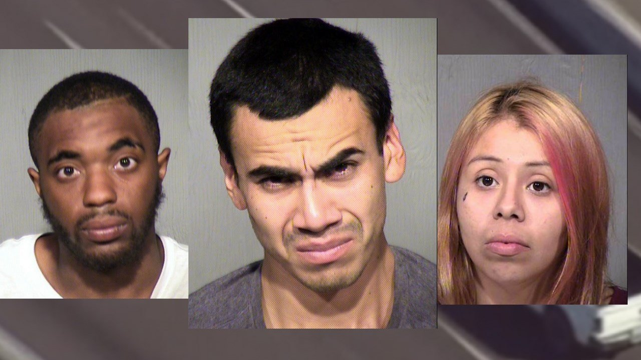 Suspects: Dosmieke Sinclair (L) Scotty Hernandez (M) and Alexis Barragan (R) (Source: Maricopa County Sheriff's Office)