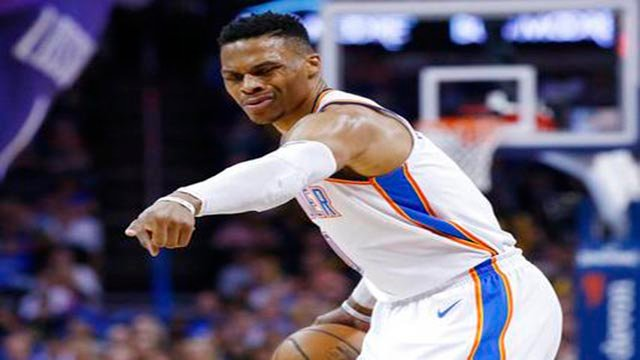 Westbrook had 27 points, eight rebounds and nine assists in the Thunder's 115-87 rout Thursday night. (Source: AP Photo)