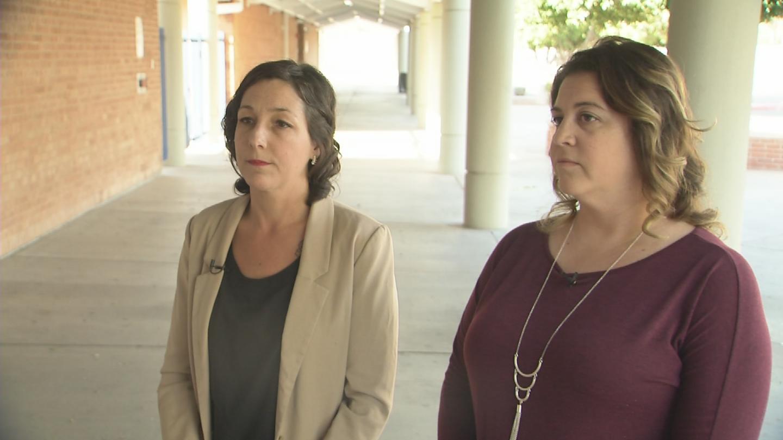 Lori Robinson and Suzanne Pachuta at Tempe High School. (Source: 3TV/CBS 5)