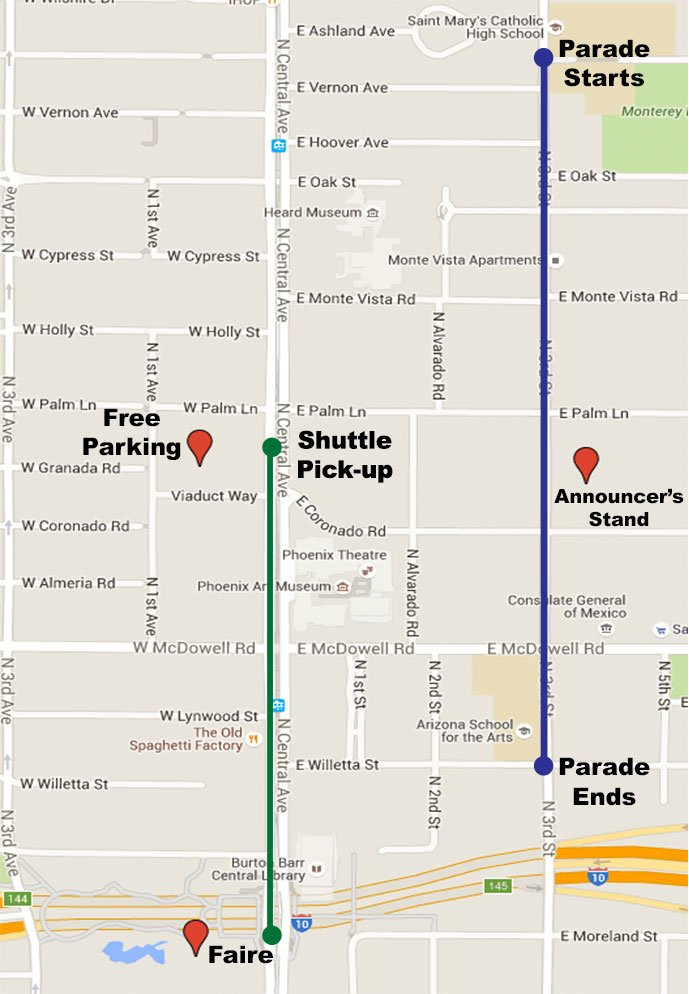 Map of the parade route. (Source: St. Patrick's Day Phoenix)