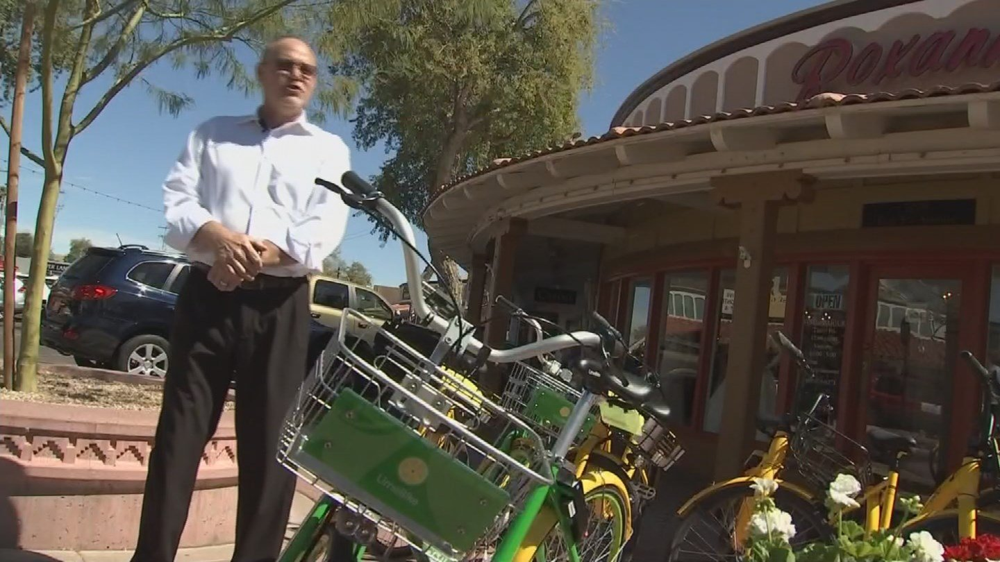 Business owner Brian Moore says rental bikes have become an eye sore. (Source: 3TV/CBS 5 News)