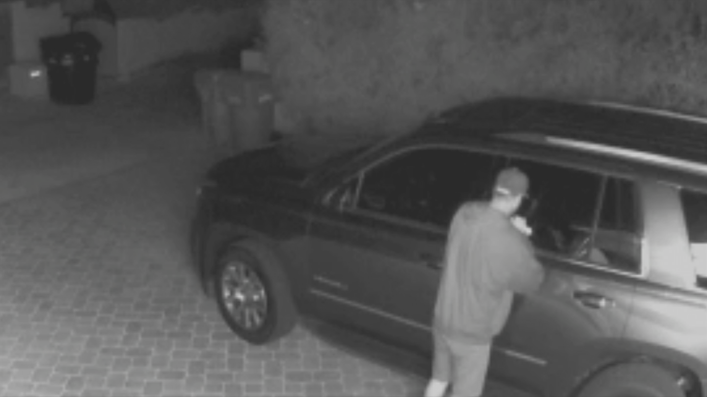 Surveillance video from two homes down the street shows two men trying unsuccessfully to open car doors around 4:30 a.m. (Source: 3TV/CBS 5)