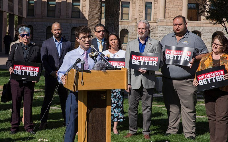 'Our legislators and the governor need to know we will no longer be ignored,' Jordan Harb, a high school junior and student organizer from Mesa, told a news conference on the Capitol lawn Monday. (Source: Jenna Miller / Cronkite News)
