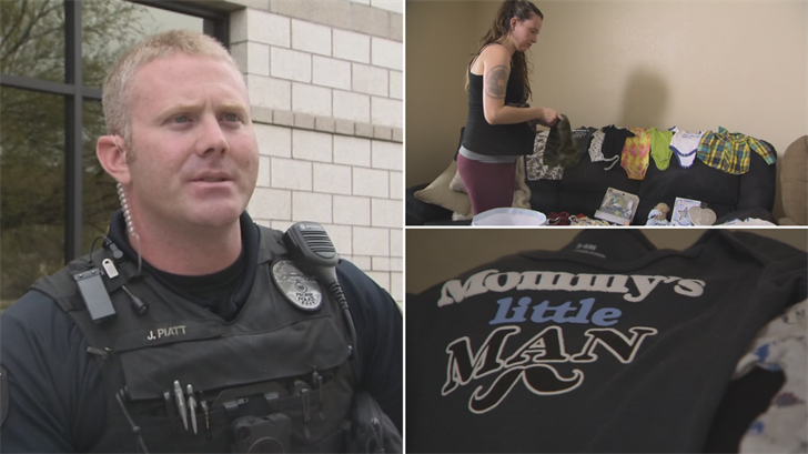 A Peoria police officer helped gather baby items for a couple after their stuff was stolen. (Source: 3TV/CBS 5)