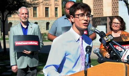 High school junior, Jordan Harb, speaks during news conference at the Arizona State Capitol about stalled gun legislation and a planned walkout by students to highlight inaction on gun safety measures. (Source: AP Photo/Bob Christie)