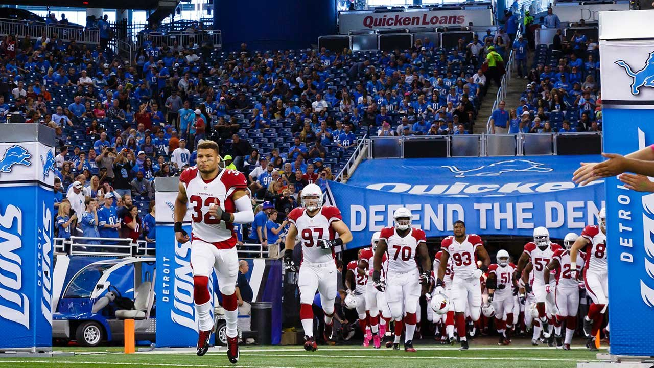 Arizona Cardinals free safety Tyrann Mathieu leads the team on to the field prior to an NFL football game against the Detroit Lions at Ford Field in Detroit Sunday Oct. 11 2015
