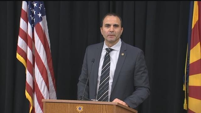 Maricopa County Sheriff Paul Penzone announces the arrest Wednesday afternoon. (Source: 3TV/CBS 5)