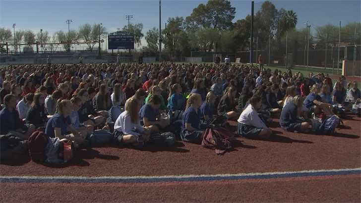 All 1,200 young women, from freshman to seniors, left class at 9:35 a.m. to gather on the softball field. (Source: 3TV/CBS 5)