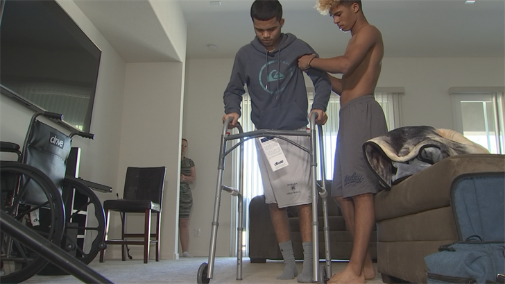 Marcus Edwards is back home after two surgeries on his brain. (Source: 3TV/CBS 5)