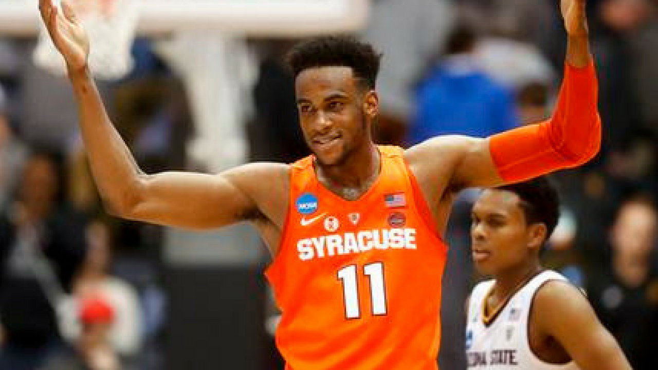 Syracuse's Oshae Brissett reacts during the second half against Arizona State in a First Four game of the NCAA men's college basketball tournament Wednesday, March 14, 2018, in Dayton, Ohio. Syracuse won 60-56. (Source: AP Photo/John Minchillo)