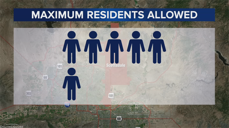 So in Scottsdale's new ordinance, capacity at sober living homes is down to six from 10. (Source: 3TV/CBS 5)