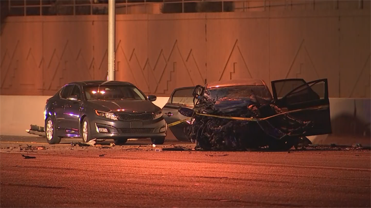 Wrong-way collision on Loop 101 near Guadalupe road on Feb. 2, 2018. The wrong-way driver, Shane Hidalgo turned himself in on March 13, 2018. (Source: 3TV/CBS 5)