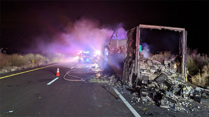 Southbound Interstate 17 was closed for several hours due to a semi-truck that caught fire late Sunday night near Black Canyon City. (Source: Daisy Mountain Fire & Medical)