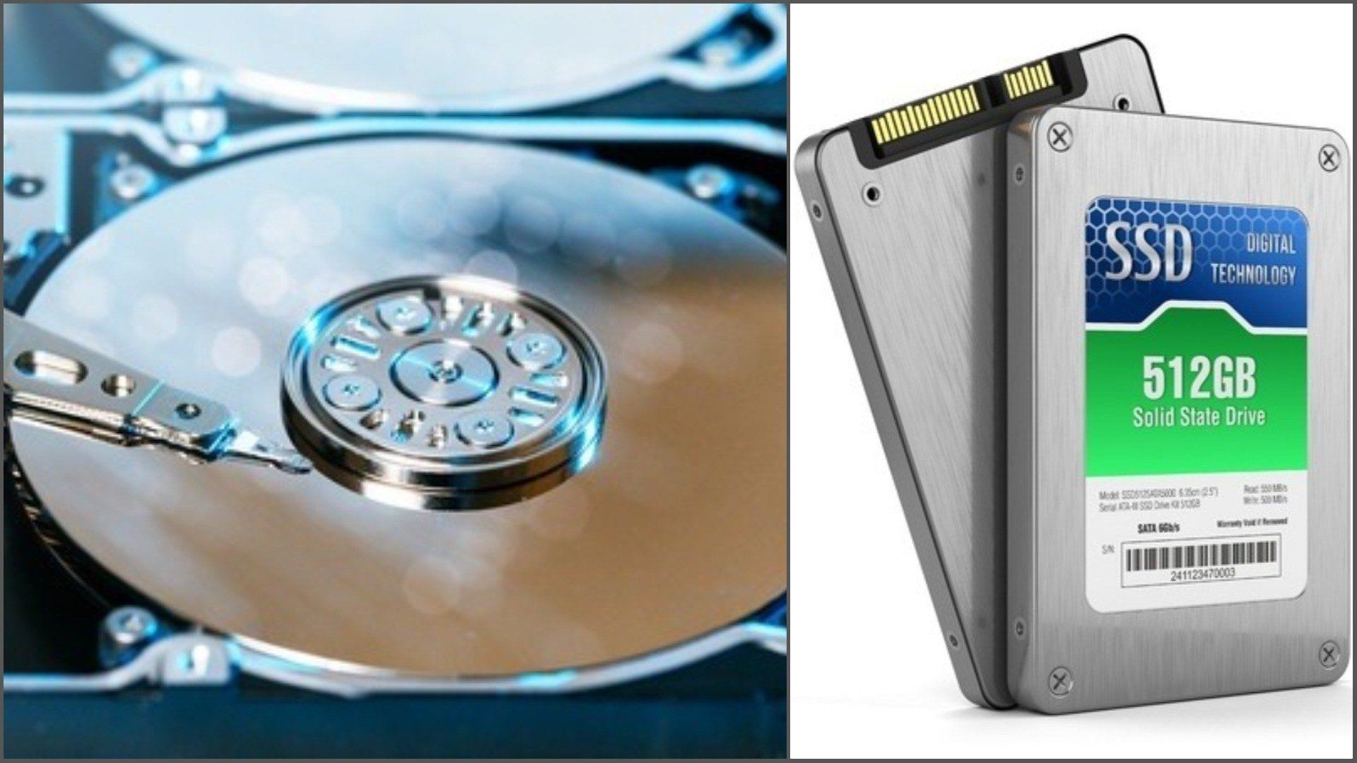 HHDs (left) has mechanical parts. SSDs (right) do not. (Source: Mikhail Starodubov and aleksanderdn via 123RF)