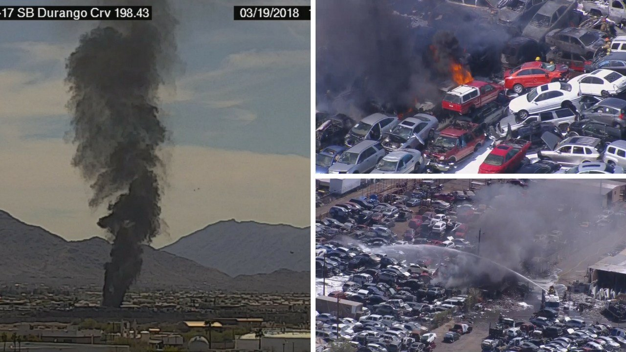 Smoke from a junk yard fire near Broadway and 27th Ave. Monday. (Source: 3TV/CBS 5 News)