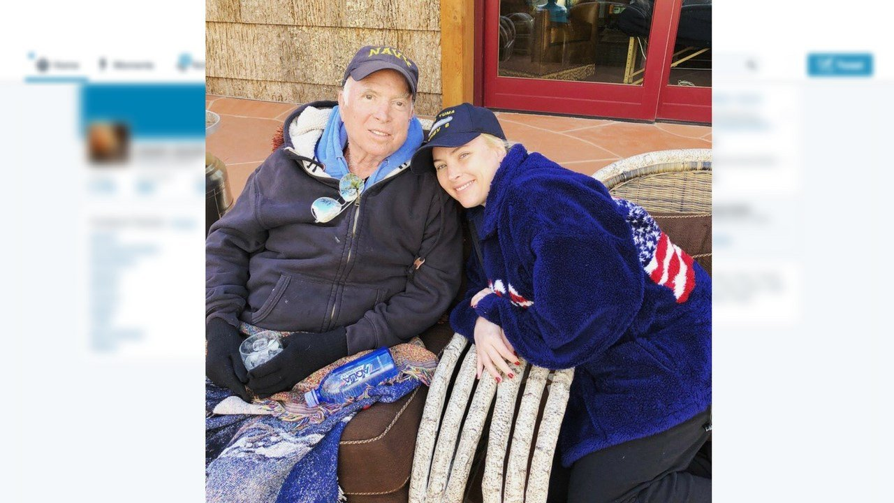 Meghan McCain tweeted a photo of her father Sunday, March 18, 2018, showing her and the Republican senator from Arizona together amid his absence from Capitol Hill. (Source: Meghan McCain/Twitter)