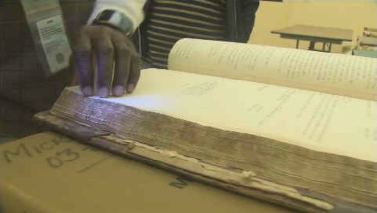 Bugs burrowed in old books are frozen in their tracks in the 40-below-zero blast freezer. (Source: 3TV/CBS 5)