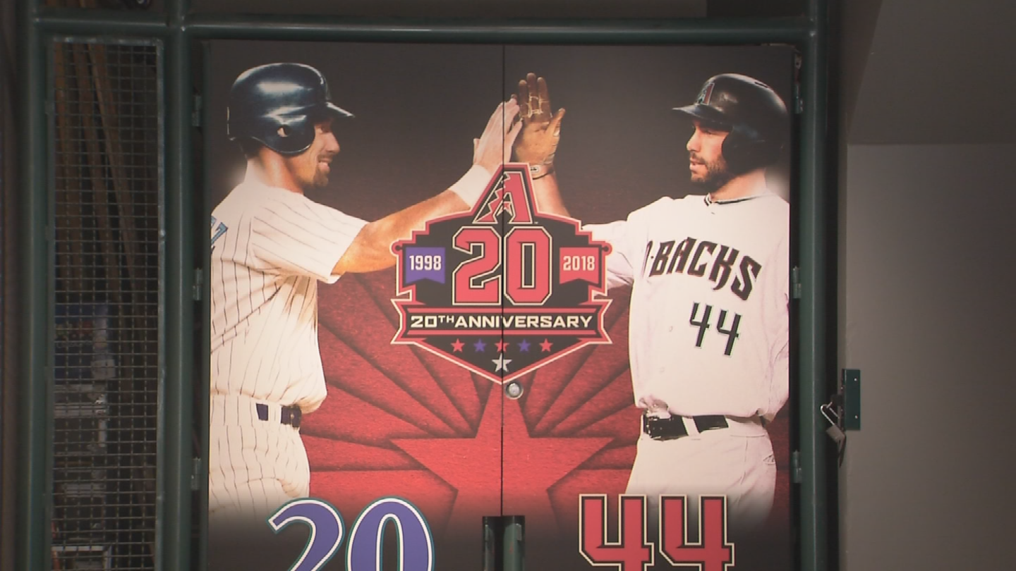 The D-backs 20th anniversary exhibit starts with a picture of their two most popular players. (Source: 3TV/CBS 5)