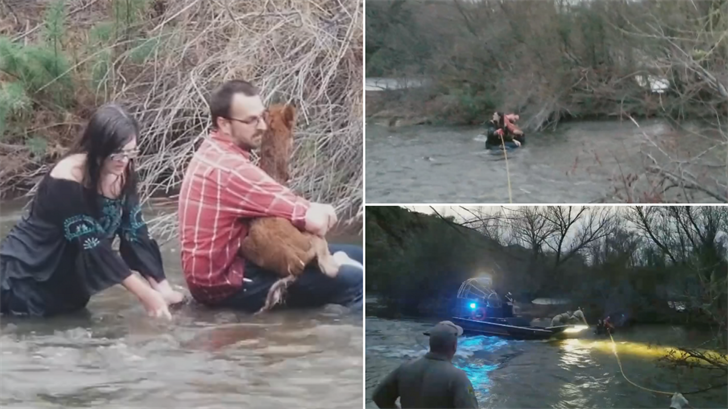 MCSO rescued a couple and a baby horse in the Salt River in the northeast Valley on Thursday. (Salt