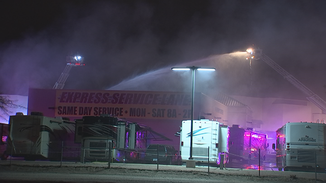 Nearly 80 firefighters were busy fighting a second-alarm fire overnight at a Phoenix RV dealership. (Source: 3TV/CBS 5)