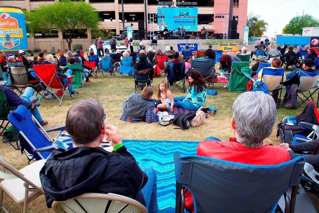Attendeesare encouraged to bring blankets and lawn chairs to make themselves comfortable as they listen to the sounds of blues, smooth jazz and fusion rhythm. (Source: City of Chandler)