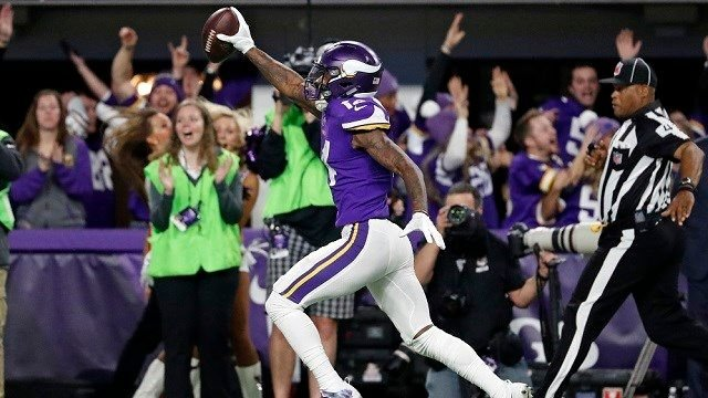 Minnesota Vikings wide receiver Stefon Riggs runs in for a game winning touchdown against the New Orleans Saints during the second half of an NFL divisional football playoff game in Minneapolis Sunday Jan. 14 2018. The Vikings defeated the Saints