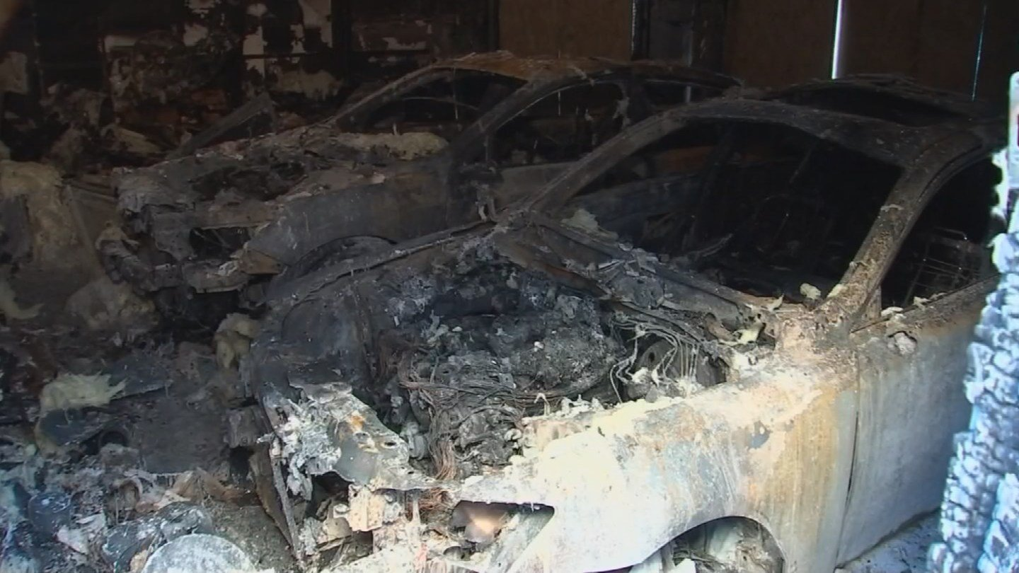 Cars in a home's garage are believed to be the source of a fire that burned a home. (Source: 3TV/CBS 5 News)
