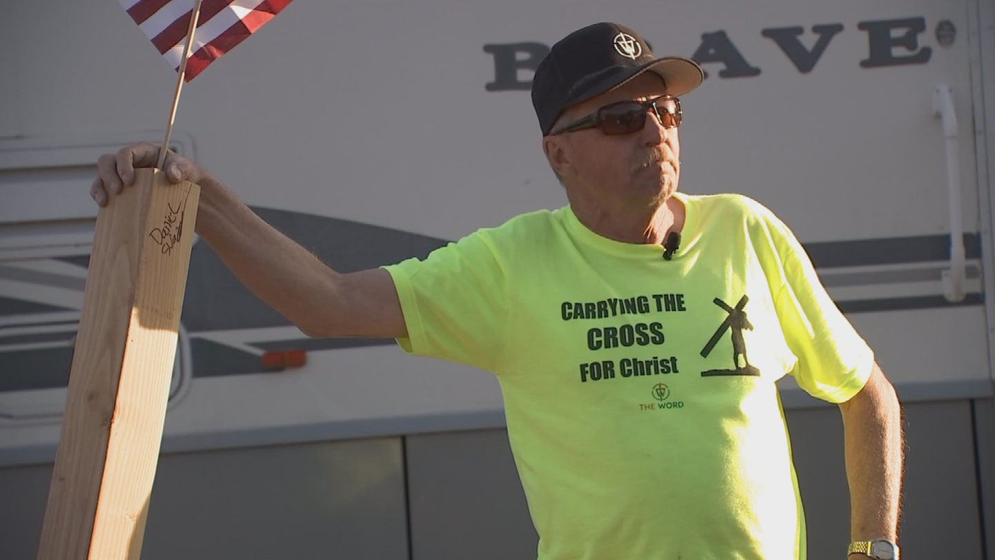 Pastor Henning's friend Robert Yeager came up with the idea to lug the cross more than 80 miles. (Source: 3TV/CBS 5)