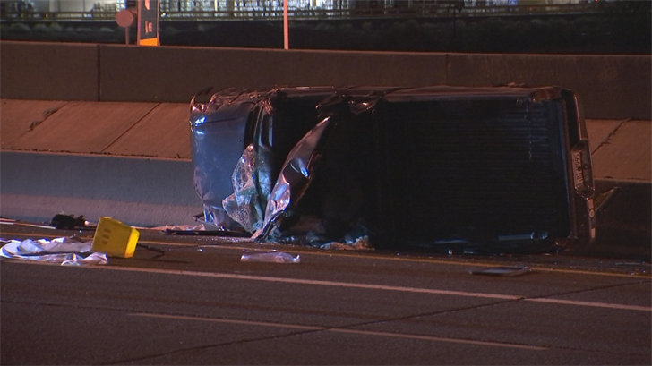 One person is in the hospital and another is behind bars after a crash on the Loop 202 in Tempe overnight. (Source: 3TV/CBS 5)