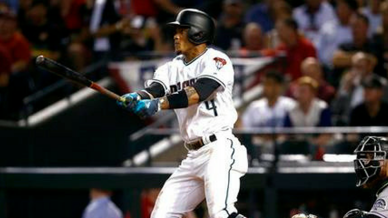 FILE - Arizona Diamondbacks' Ketel Marte follows through on a triple against the Colorado Rockies during the fourth inning of the National League wild-card playoff baseball game. (Source: AP Photo/Ross D. Franklin, File)
