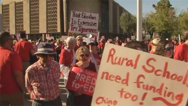 Thousands rallied at the state Capitol for better conditions for teachers. (Source: 3TV/CBS 5)
