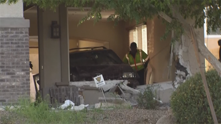 No one was inside the home at the time of the crash. (Source: 3TV/CBS 5)