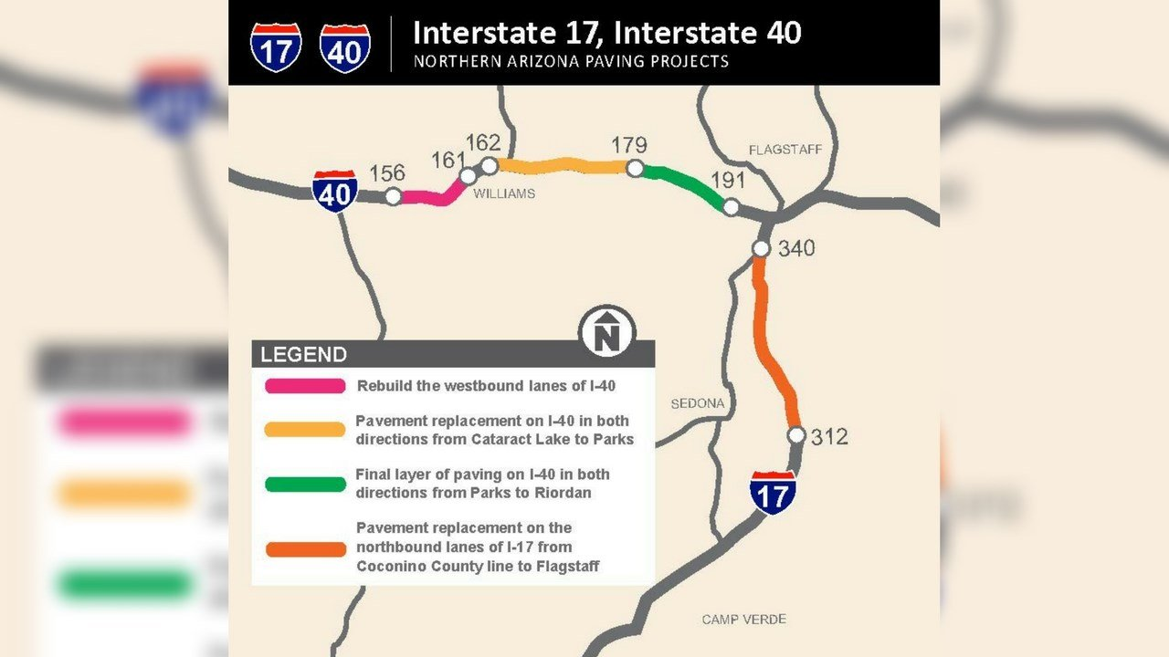 Starting in the next few weeks, Arizona Department of Transportation crews will begin improving pavement along 182 lane miles of Interstate 40 and 17 in the Flagstaff area. (Source: ADOT)