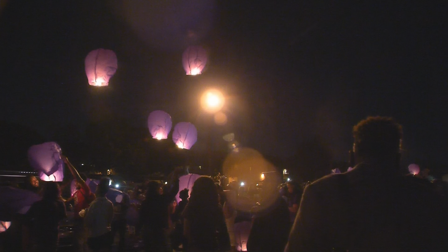 Luminarias were lit and launched into the sky from Word of Abundant Life Christian Center. (Source: 3TV/CBS 5)