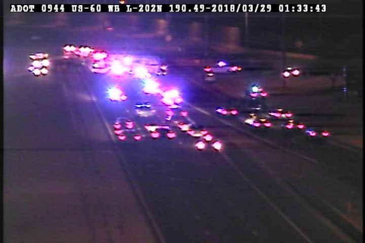 The wrong-way crash closed southbound Loop 202 Santan at the U.S. 60 in east Mesa for several hours. (Source: Arizona Department of Transportation)