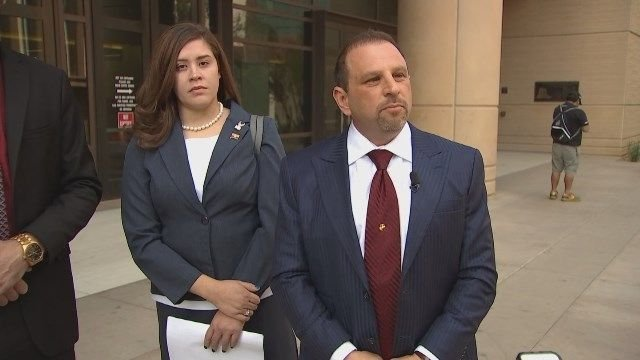 Tahnee Gonzales, has pleaded not guilty to a charge of burglarizing a mosque in Tempe, and Marc Victor, one of her lawyers (Source: 3TV/CBS 5)