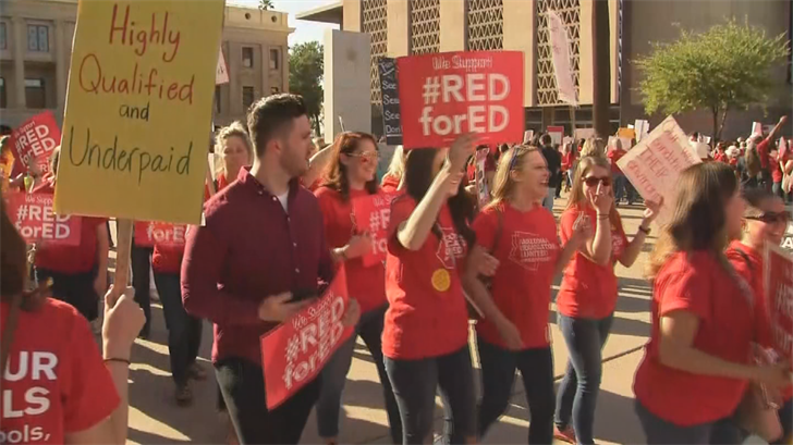 Arizona teachers were galvanized into action by the success of a similar movement in West Virginia earlier this month, where teachers won a 5 percent raise after going on strike. (Source: 3TV/CBS 5)