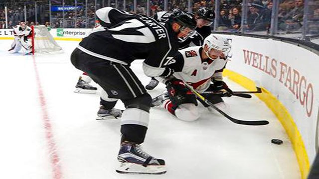Jeff Carter completed a hat trick by scoring with 4:25 left and the Los Angeles Kings beat the Arizona Coyotes 4-2 on Thursday night. (Source: AP Photo)