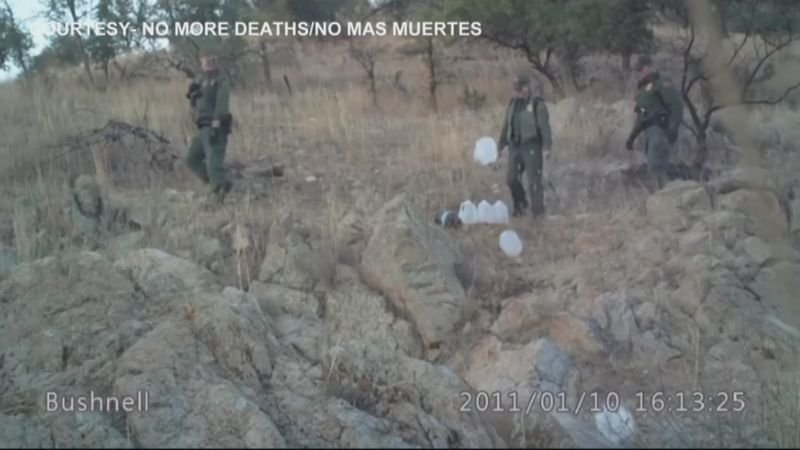 His arrest came after the group released videos of a Border Patrol agent kicking over water jugs meant for immigrants and of another agent pouring water on the ground. (Source: No More Deaths)