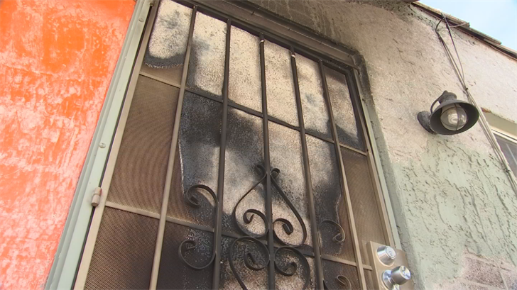 Police say it's the same man they suspect lit a front door on fire as he tried to get into another home up the street about an hour earlier that night. (Source: 3TV/CBS 5)