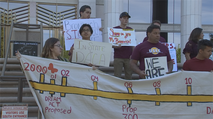 "So-called ""Dreamers"" rallied outside the Arizona Supreme Court because they want in-state tuition for certain students in the country illegally. (Source: 3TV/CBS 5)"