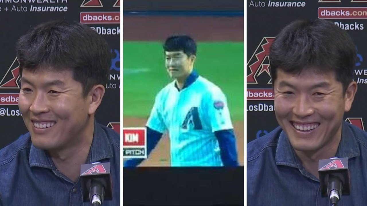 Former Diamondback closer, B.K. Kim threw out the first pitch. (Source: 3TV/CBS 5 News)