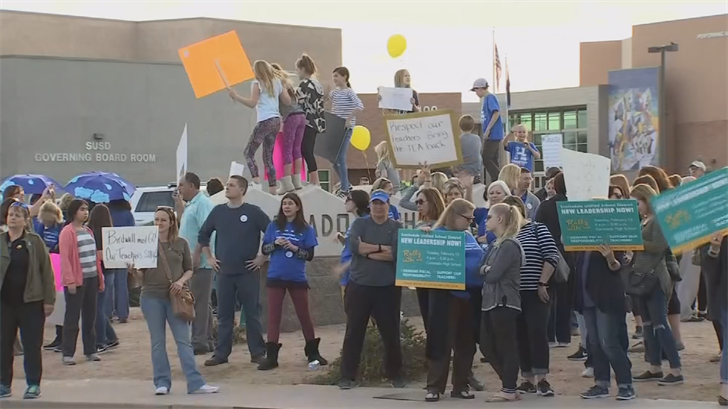 The Governing Board of the Scottsdale Unified School District voted Tuesday to approve a 3.5 percent pay increase for teachers beginning next fall, one night before teachers at several districts planned to protest for higher wages. (Source: 3TV/CBS 5)