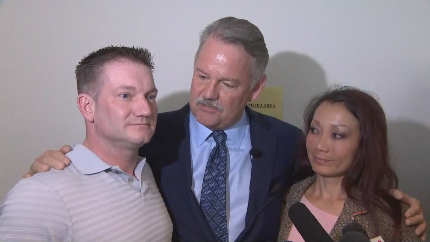 C. Keith Greer (center) and Mary Zahau-Loehners, the sister of Rebecca Zahau (Source: CBS)