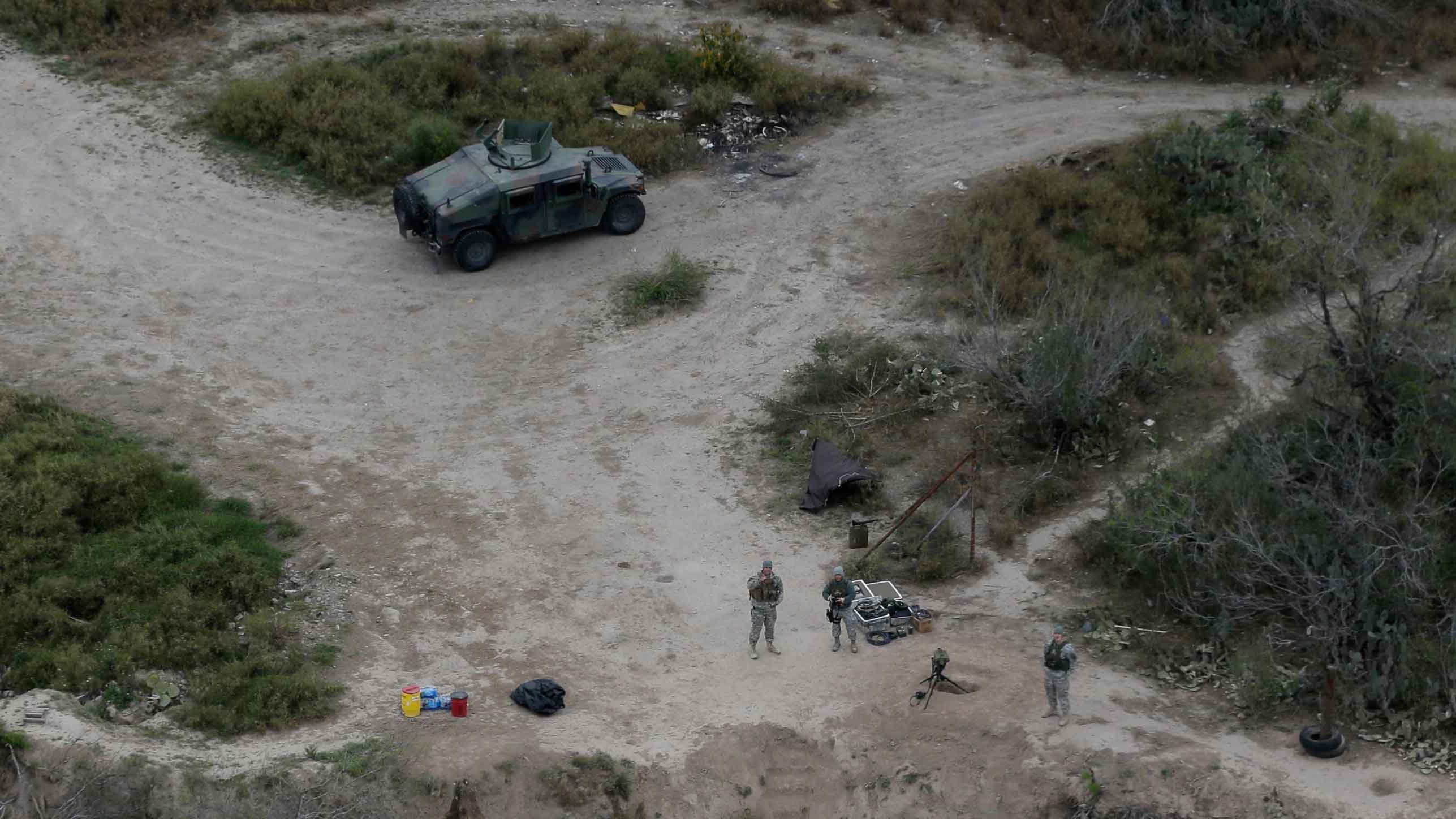 Members of the National Guard patrol along the Rio Grande at the Texas-Mexico border, Tuesday, Feb. 24, 2015, in Rio Grande City, Texas. (Source: AP Photo/Eric Gay)