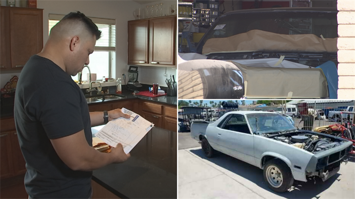 Gabe Betancourt says an auto body shop in Glendale has had his car for more than two years. (Source: 3TV)
