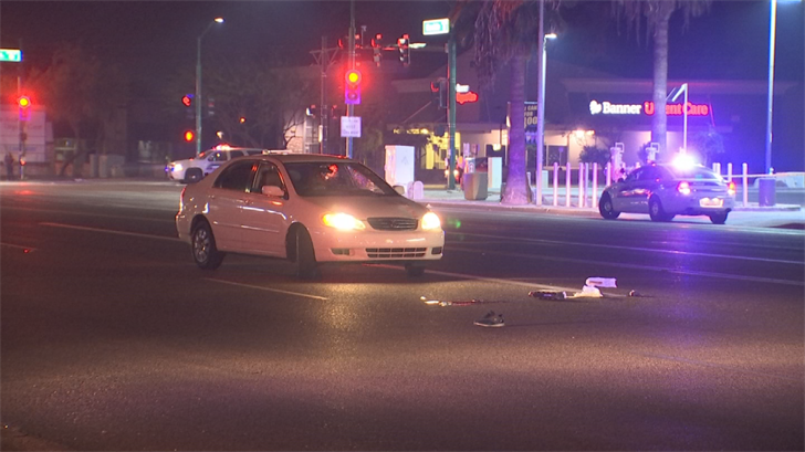 A man is dead after he was struck by a car while crossing midblock in Phoenix late Thursday night. (Source: 3TV/CBS 5)