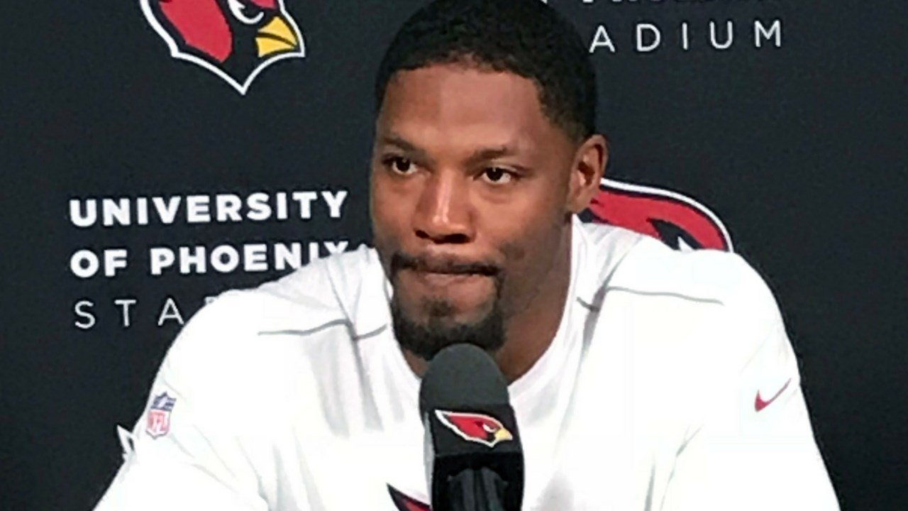 All-Pro running back David Johnson speaks at a press conference on Thursday morning. (Photo by Shawn Moran/Cronkite News)