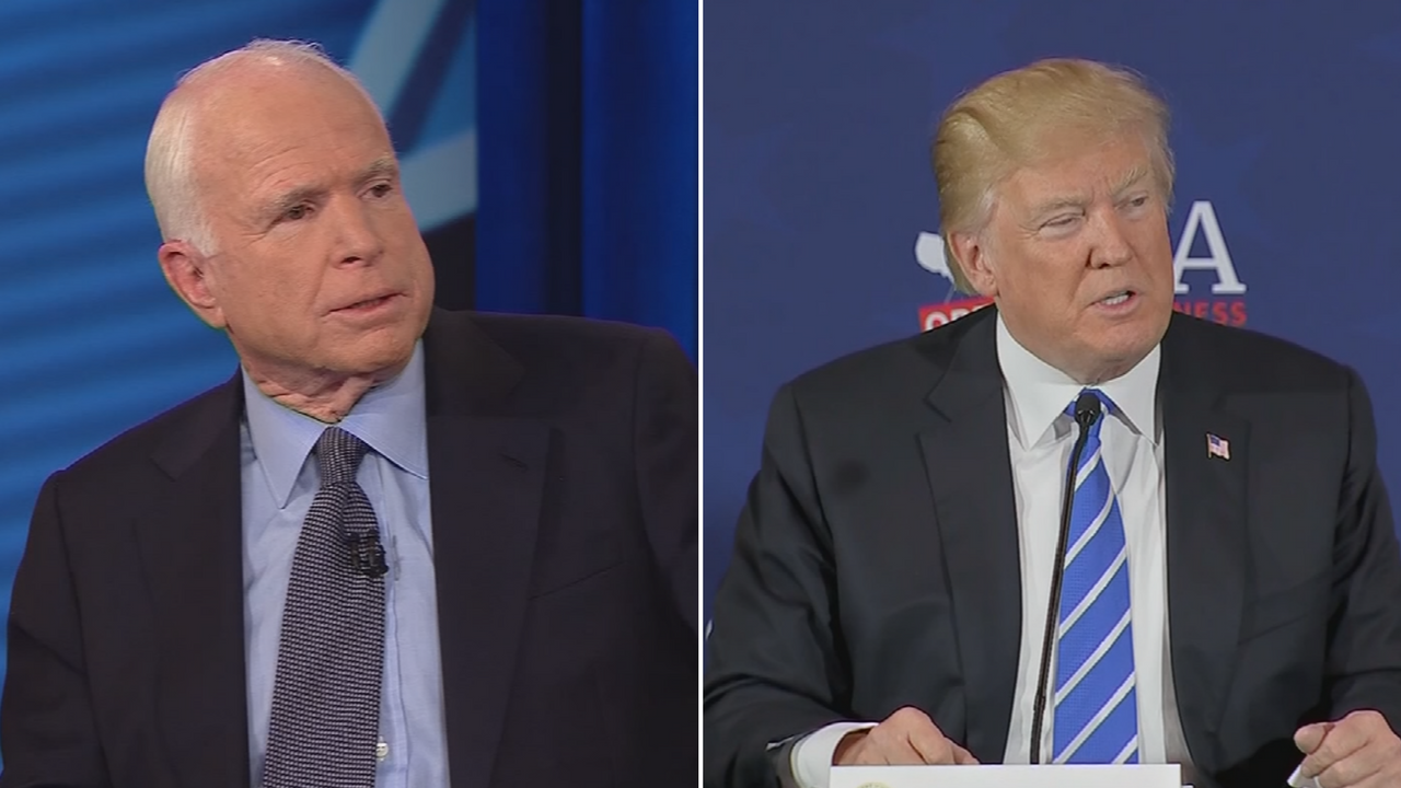 Sen. John McCain, left, said President Donald Trump's comments have emboldened Syrian leader Bashar al-Assad. (Source: CNN)